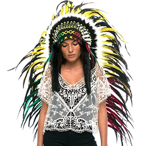Long Feather Headdress- Native American Indian Style -ADJUSTABLE- Rasta Rooster