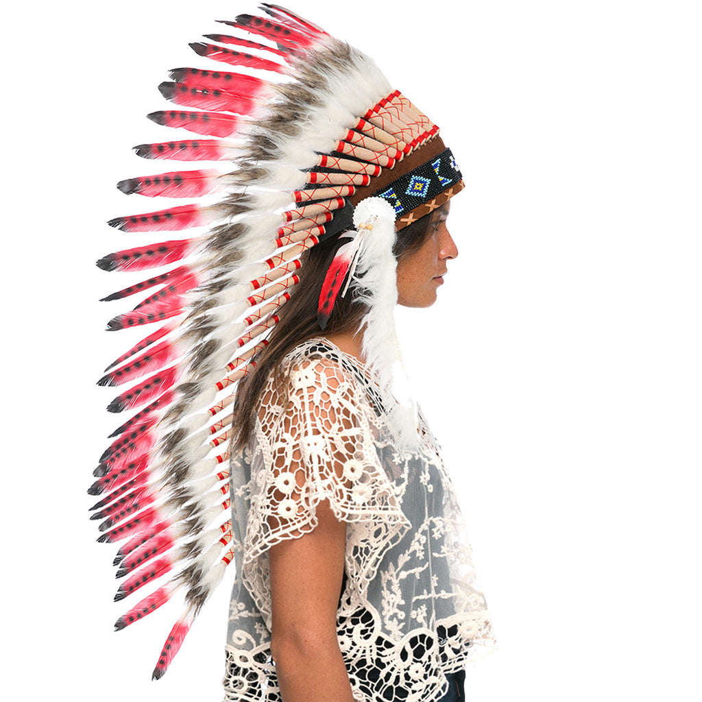 Long Feather Headdress- Native American Indian Inspired -ADJUSTABLE- Red Tip