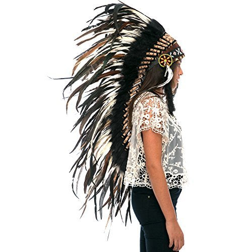 Long Feather Headdress- Native American Indian Style -ADJUSTABLE- Natural