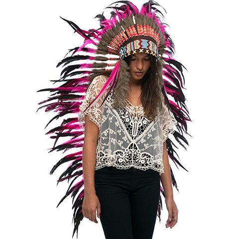 Extra Long Indian Headdress Replica - Pink Rooster - CLEARANCE!