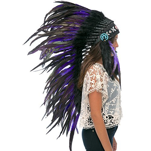 Long Feather Headdress- Native American Indian Style -ADJUSTABLE- Purple-Black