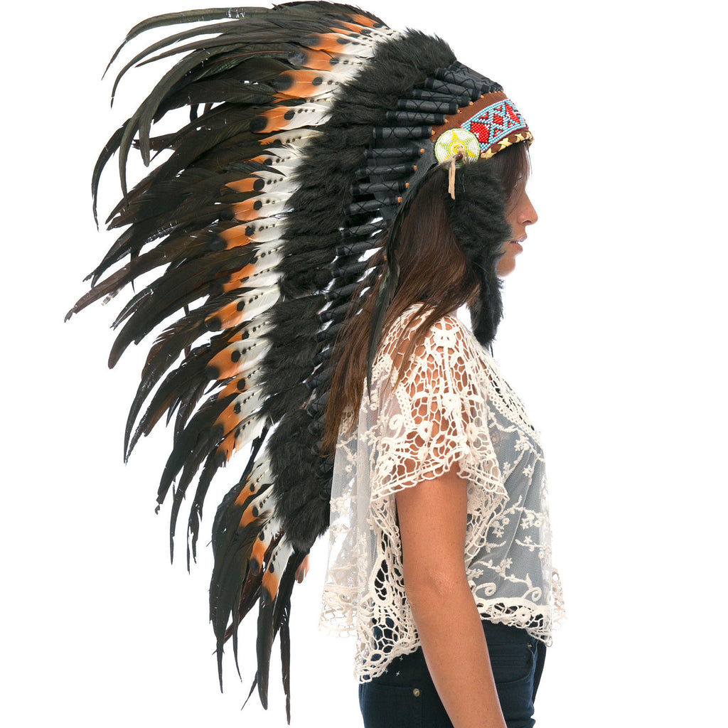 Long Feather Headdress- Native American Indian Inspired - DOUBLE FEATHER Brown