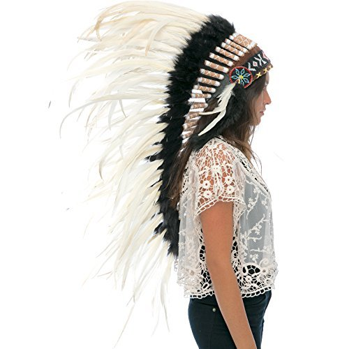 Long Feather Headdress- Native American Indian Style - White Rooster