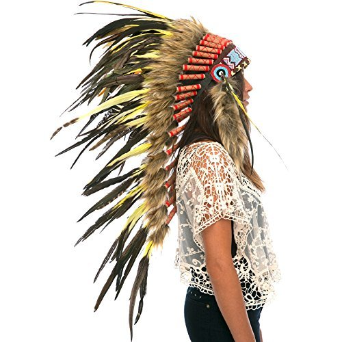 Long Feather Headdress- Native American Indian Style - Yellow Rooster