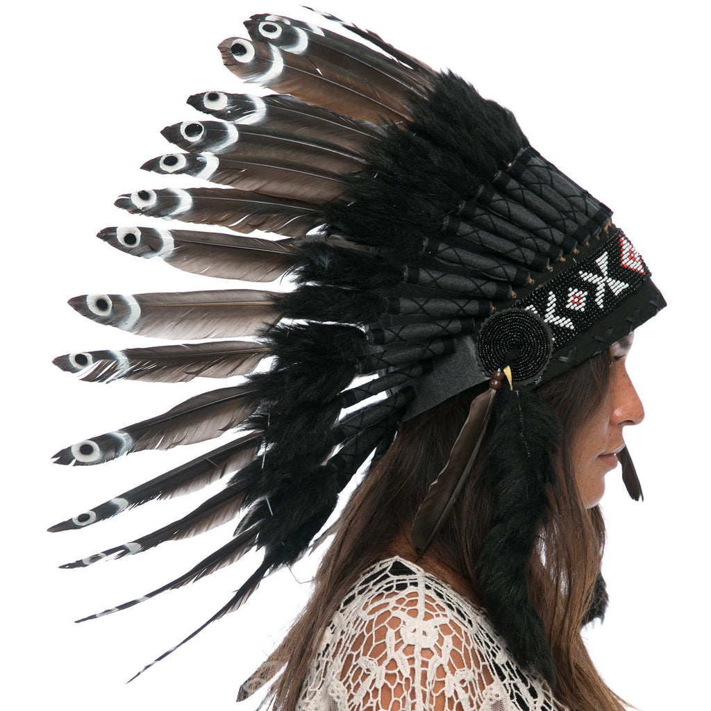 Feather Headdress- Native American Indian Inspired -ADJUSTABLE- Black Duck