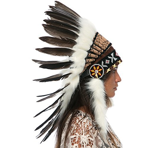 Feather Headdress- Native American Indian Style -ADJUSTABLE- Natural Black Duck