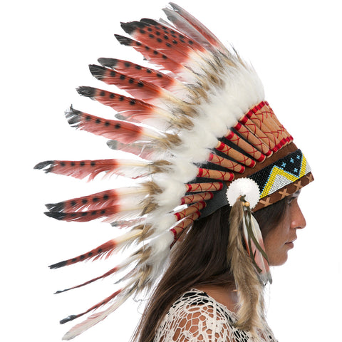 Feather Headdress- Native American Indian Style -ADJUSTABLE- Brown Tip