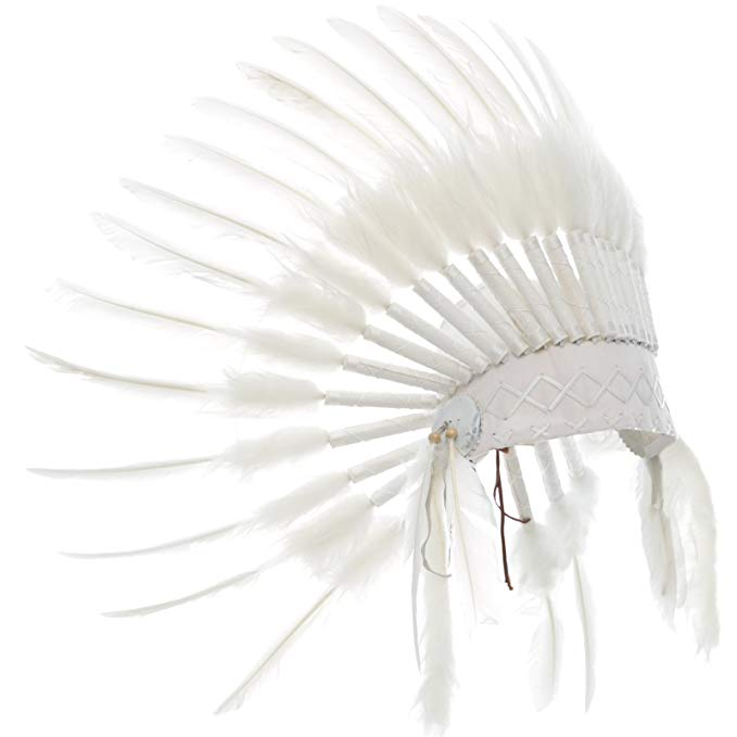 Kids Native American Headdress Replica - All White Duck - CLEARANCE!