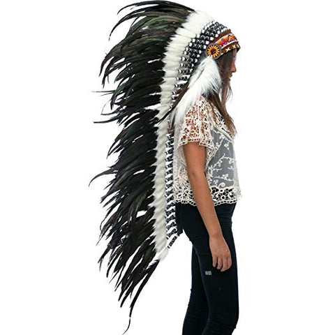 Extra Long Native American Indian Inspired Headdress -ADJUSTABLE - Black Rooster