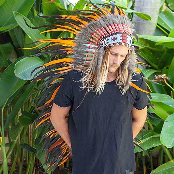 Extra Long Indian Headdress Replica - Orange Rooster - CLEARANCE!