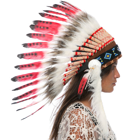 Feather Headdress- Native American Indian Style -ADJUSTABLE- Red Tip