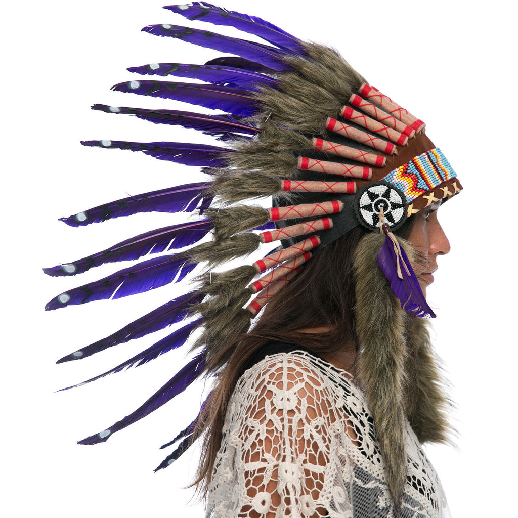 Feather Headdress- Native American Indian Inspired -ADJUSTABLE- Purple Duck