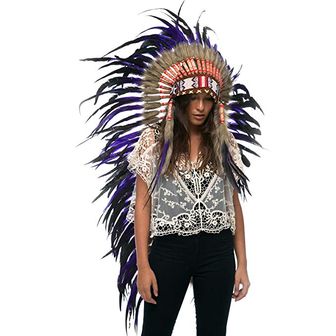 Extra Long Native American Headdress Replica - Purple Rooster - CLEARANCE!