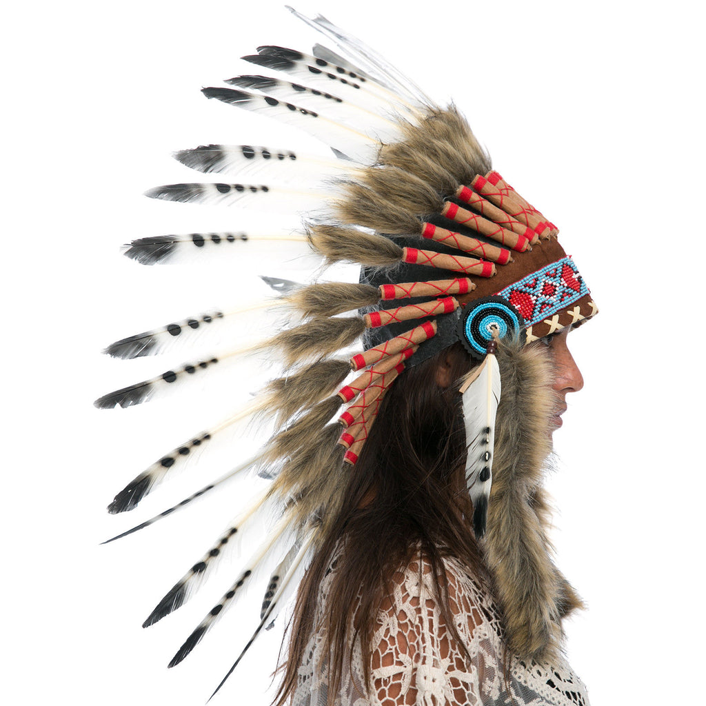 Feather Headdress- Native American Indian Style -ADJUSTABLE- Black & White Duck