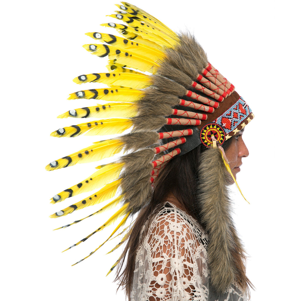 Feather Headdress- Native American Indian Style - Yellow Duck