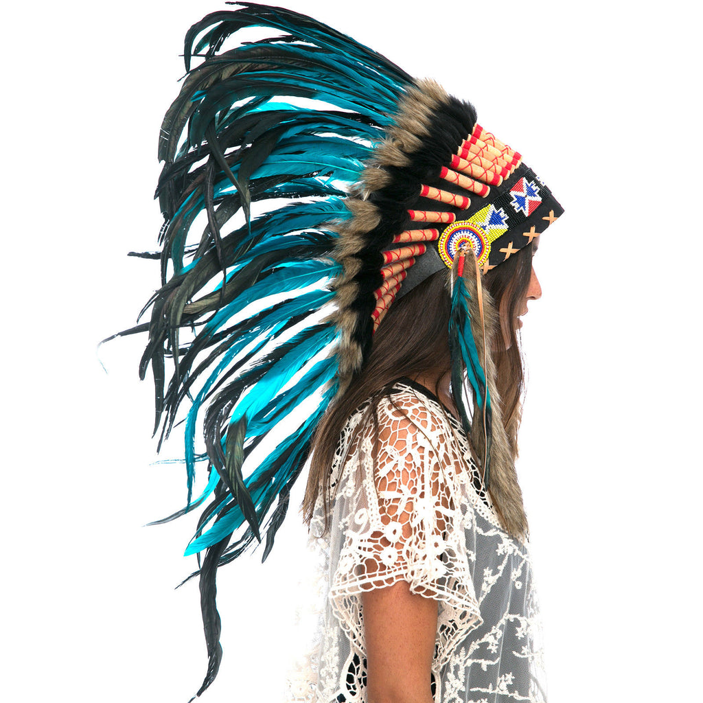 Feather Headdress- Native American Indian Style -ADJUSTABLE- Aqua-Black Rooster