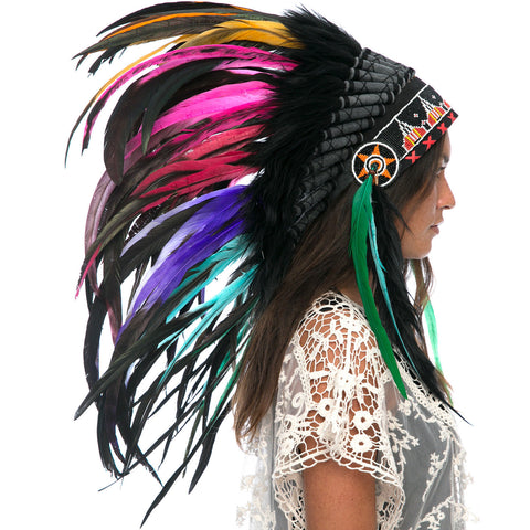 Feather Headdress- Native American Indian Inspired -ADJUSTABLE- Electric