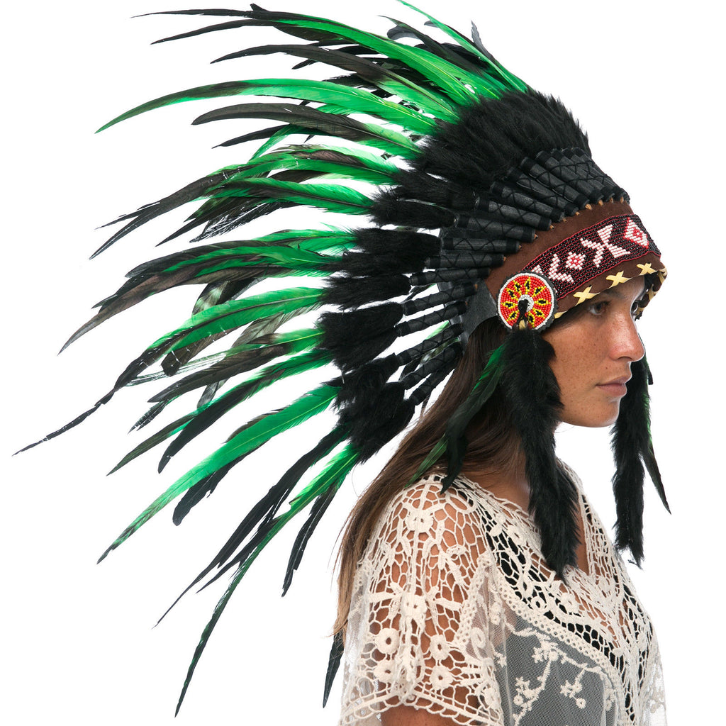 Feather Headdress- Native American Indian Style -ADJUSTABLE- Green-Black Rooster
