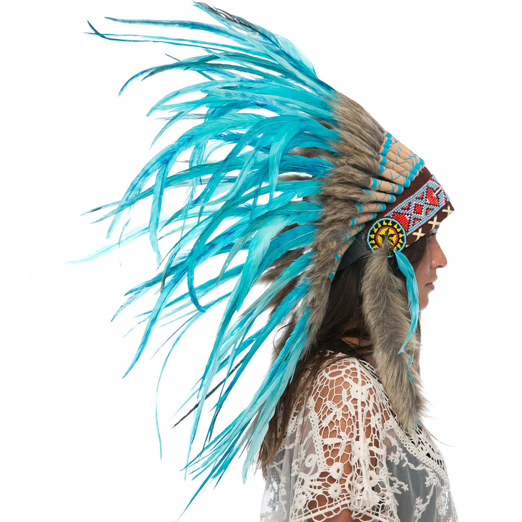 Feather Headdress- Native American Indian Style -ADJUSTABLE- Full Turquoise