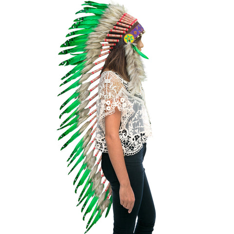 Extra Long Native American Indian Inspired Headdress -ADJUSTABLE - Green Duck
