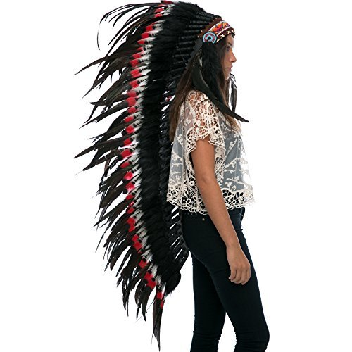 Extra Long Indian Headdress Replica - DOUBLE FEATHER Red