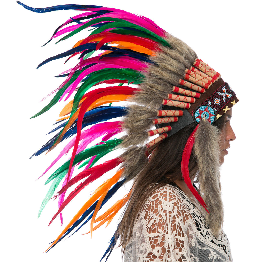 Feather Headdress- Native American Indian Inspired -ADJUSTABLE- Rainbow Rooster