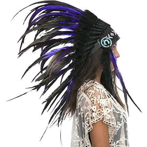 Indian Headdress Replica - Purple-Black Rooster - CLEARANCE!
