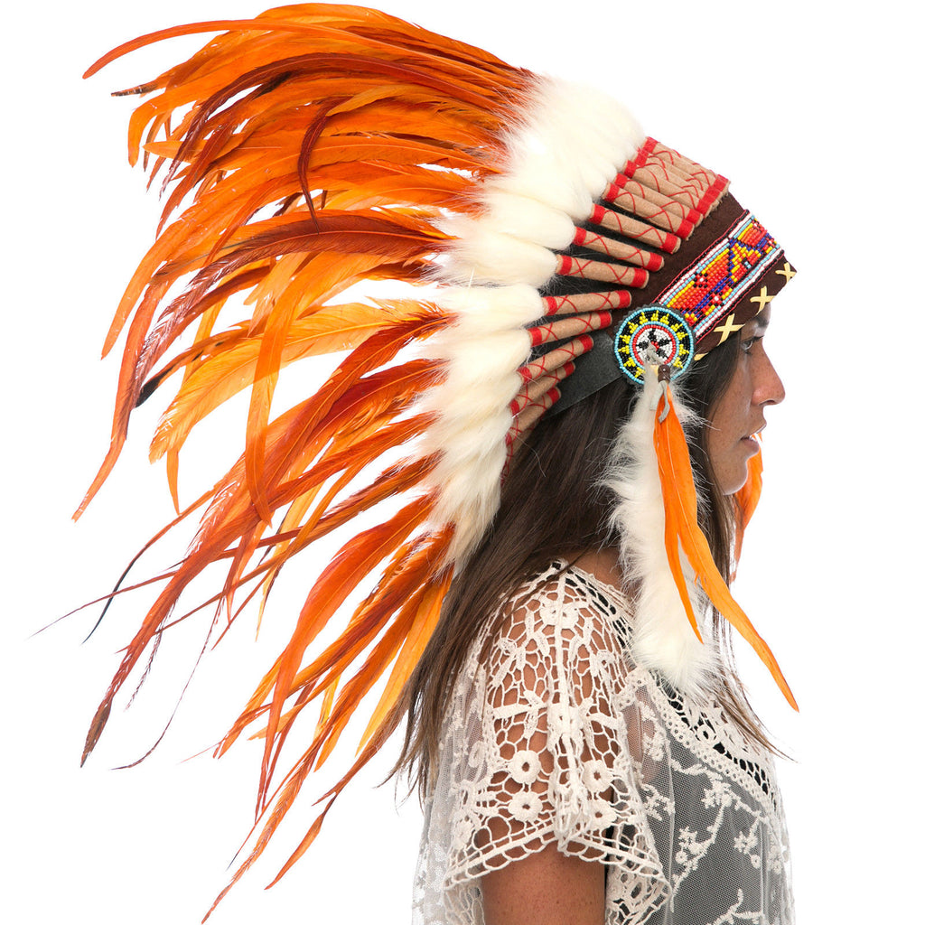Feather Headdress- Native American Indian Style -ADJUSTABLE- Full Orange Rooster