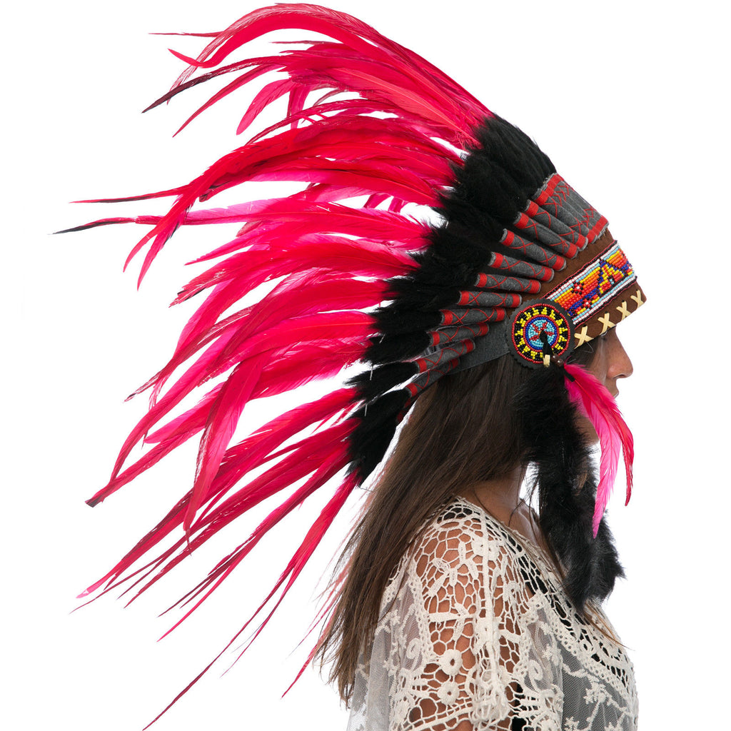 Feather Headdress- Native American Indian Style -ADJUSTABLE- Red Rooster