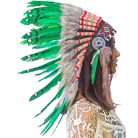 Indian Headdress Replica - Green Duck - CLEARANCE!