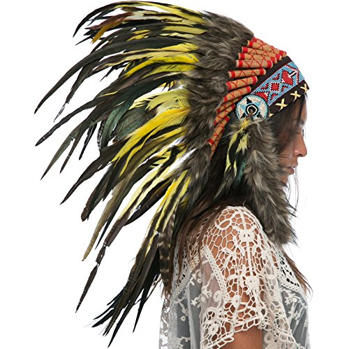 Indian Headdress Replica - Yellow Rooster - CLEARANCE!