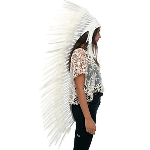 Extra Long Native American Headdress Replica - ALL WHITE Duck - CLEARANCE!