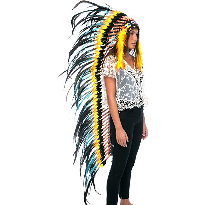 Extra Long Indian Headdress Replica - Turquoise-Fire - CLEARANCE!