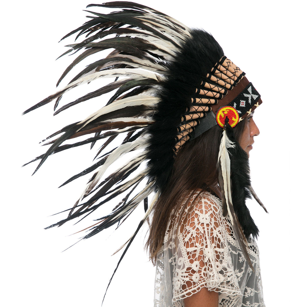 Feather Headdress- Native American Indian Style -ADJUSTABLE- Natural Rooster