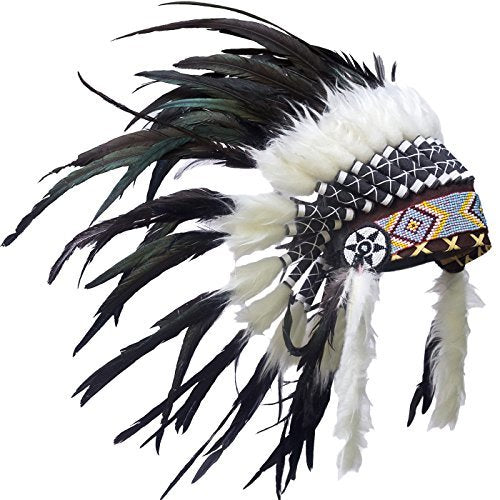 Kids Native American Headdress Replica - Short Black Rooster