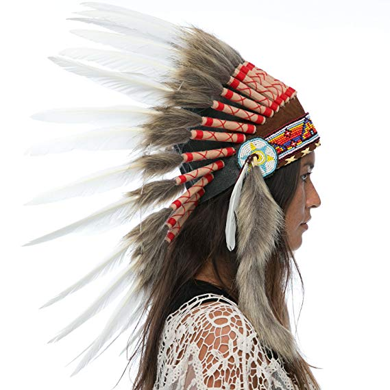 Indian Headdress Replica - Classic White Duck - CLEARANCE!