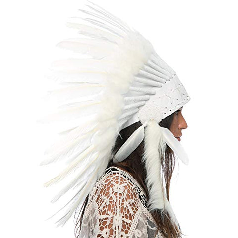 Native American Headdress Replica - All White Duck - CLEARANCE!