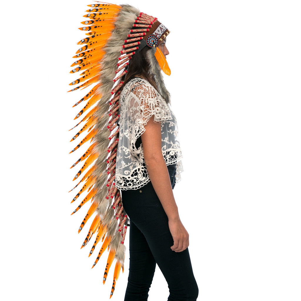 Extra Long Native American Indian Style Headdress - ADJUSTABLE - Orange Duck