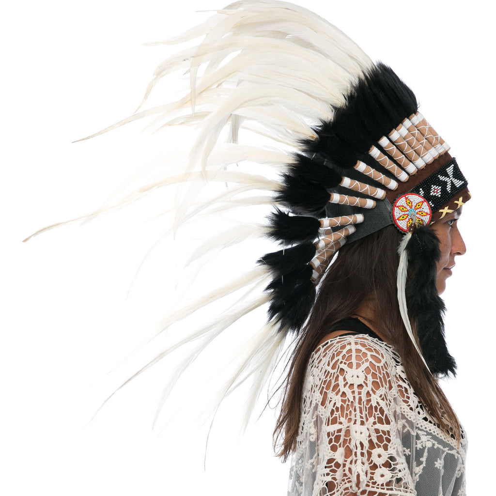 Feather Headdress- Native American Indian Style -ADJUSTABLE- White Rooster