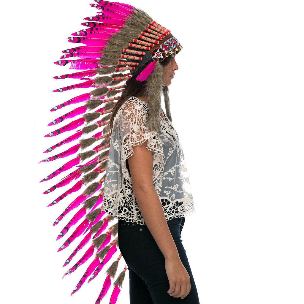 Extra Long Native American Indian Inspired Headdress -ADJUSTABLE - Pink Duck
