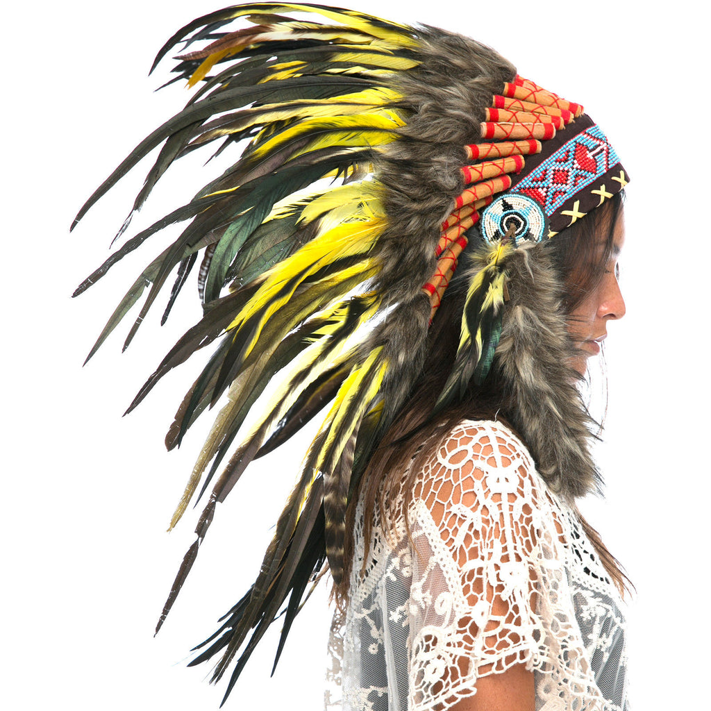 Feather Headdress- Native American Indian Inspired -ADJUSTABLE- Yellow Rooster
