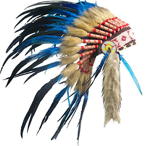 Kids Native American Headdress Replica - Short Dark Blue Rooster