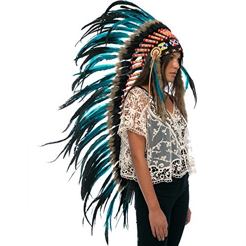 Long Feather Headdress- Native American Indian Inspired -ADJUSTABLE- Aqua-Black