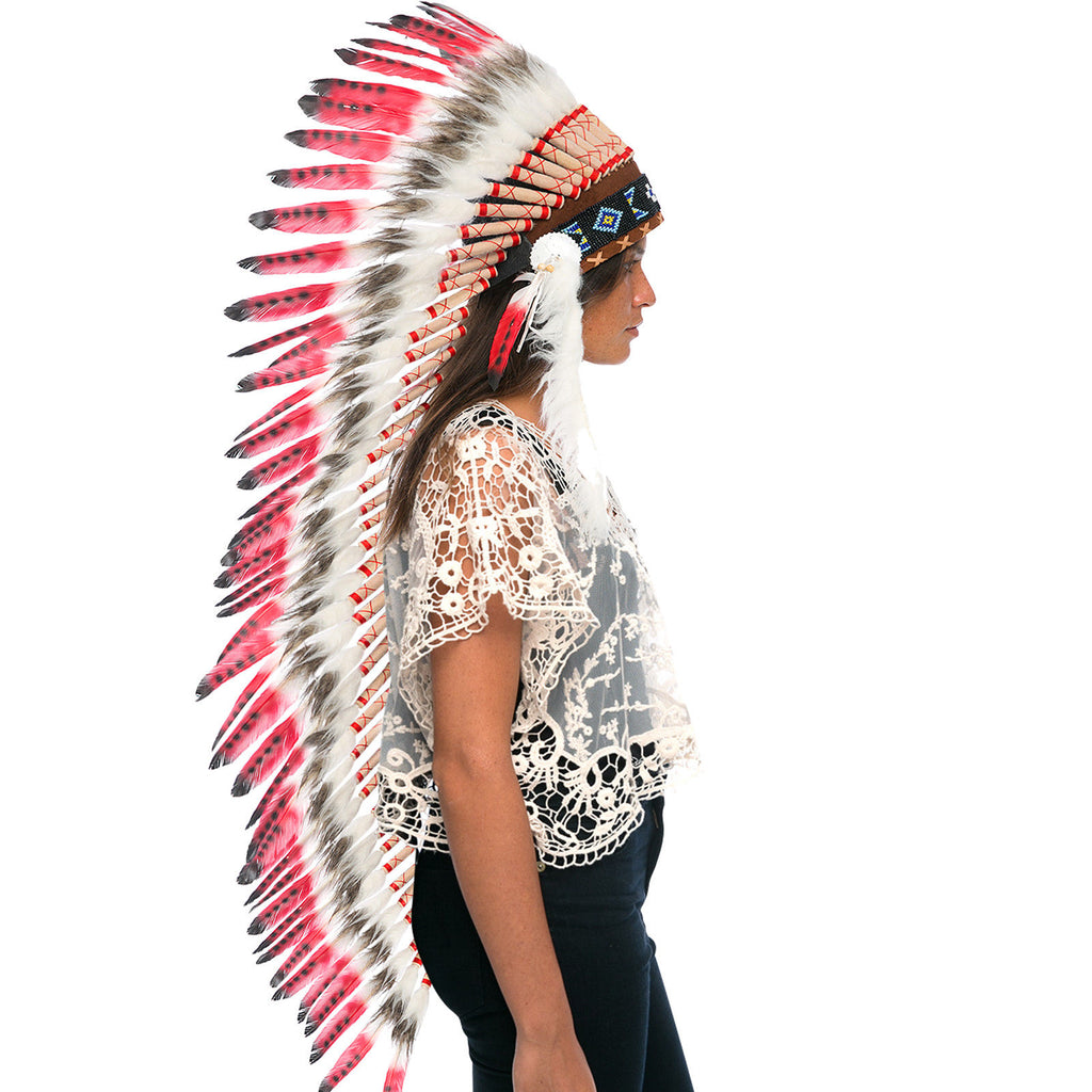 Extra Long Native American Indian Inspired Headdress -ADJUSTABLE - Red Tip Duck