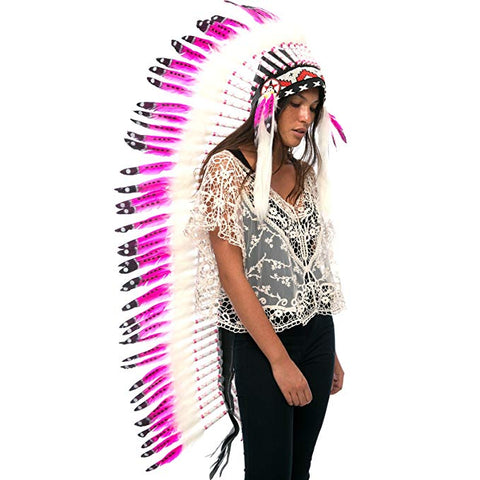 Extra Long Native American Headdress Replica - Wild Pink - CLEARANCE!