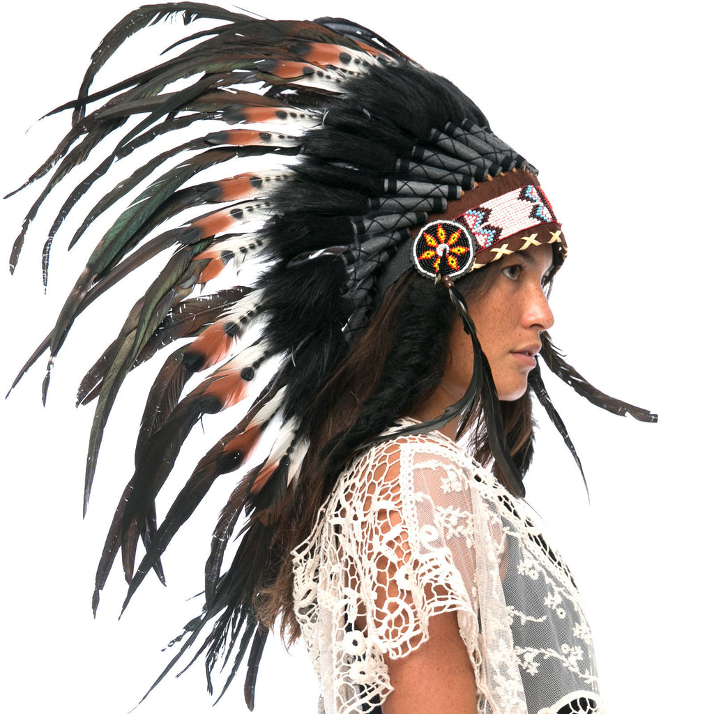 Feather Headdress- Native American Inspired -ADJUSTABLE- DOUBLE FEATHER Brown