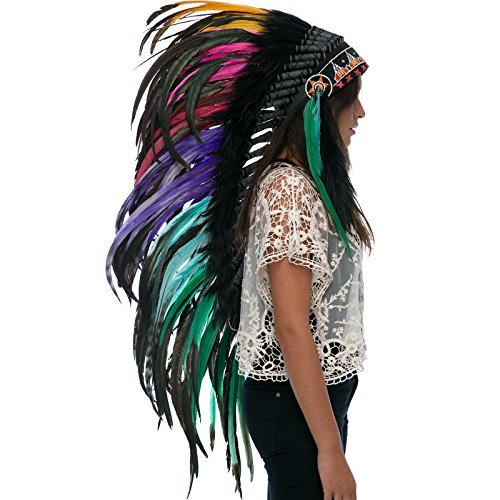 Long Feather Headdress- Native American Indian Inspired -ADJUSTABLE- Electric
