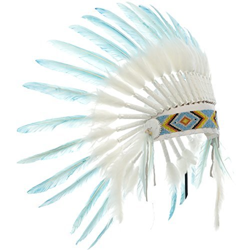 Kids Indian Headdress Replica - Short Pale Blue Duck - CLEARANCE!