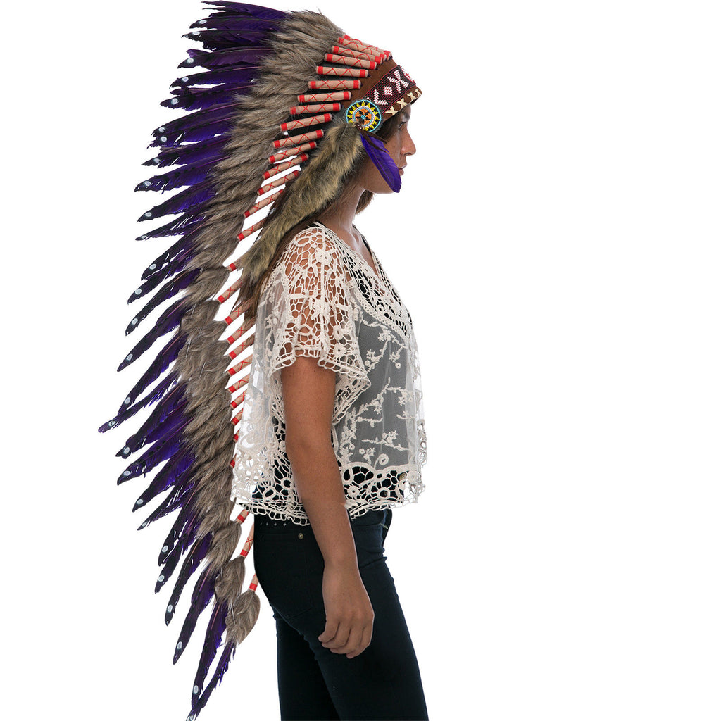 Extra Long Native American Indian Style Headdress - ADJUSTABLE - Purple Duck