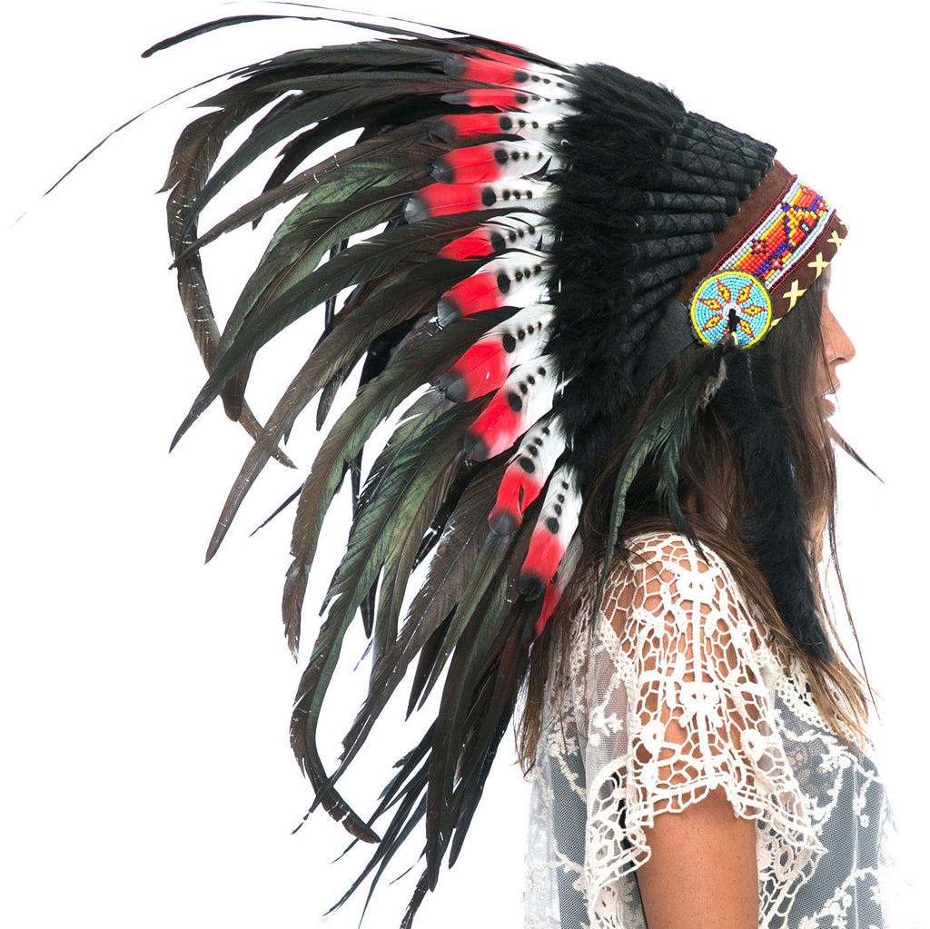 Feather Headdress- Native American Indian Style -ADJUSTABLE- DOUBLE FEATHER Red